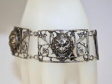 Vintage Ladies 800 Silver 3-D Devil Face Link Bracelet Hallmarked Made In Italy