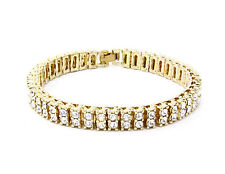 Men & Lady 2 Row Black Gold Silver Crystal Iced Out Hip Hop Bling Bracelet 8""