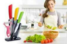 Premium 3pc Ceramic Kitchen Knife Set W/ Peeler & Stand