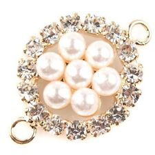 8pcs Gold Dot Rhinestone Seven Pearl Round Alloy Connector Pendants Findings C