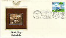 (18993) USA FDC Earth Day - with 22Ct Gold replica stamp Washington DC 1995