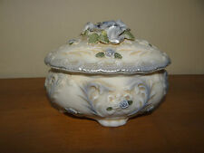Large Porcelain Collectible Oval Antique White w/Blue Rose Trinket Box