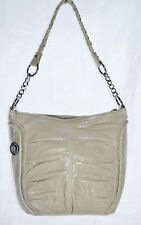 The Sak leather Oyster tote ruching shoulder bag woven strap with chain