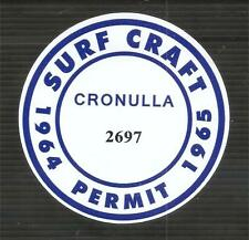 """CRONULLA 1964-1965 SURFBOARD PERMIT"" Sticker Decal SURFING SKATEBOARD SURF"