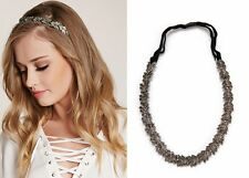 H66 Forever 21 Wedding Headpiece Bride Bridal Dark Crystal Elastic Headband US