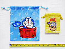 "LOT of 2 NEW DORAEMON Collectible Cinch Drawstring Top Bag/Pouch/Sack 7.75"" x 9"""