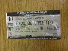 BIGLIETTO 18/10/2003: Fulham V Wolverhampton Wanderers. grazie per la visualizzazione è il nostro