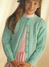 """Girls Cardigan Knitting Pattern eyelet and cable  22-30""""  4ply 515"""