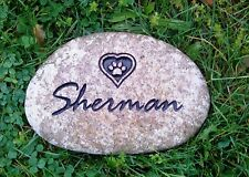 "Pet memorial headstone 7"" river rock custom engraved"