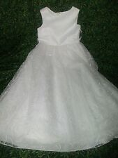 Size 5 Sleeveless WHITE FORMAL DRESS Multi Layer Embroidered Skirt w/Tiny Pearls