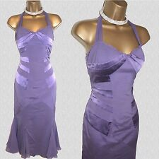 KAREN MILLEN Lilac Halterneck Silk Wedding Cruise Races Cocktail Dress 10 UK