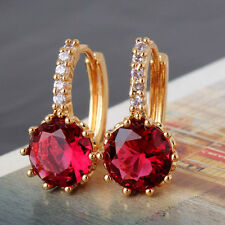 REAL 18CT Gold Filled Ruby Red Round Earrings for Mum Sister Birthday Gift
