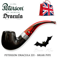 PETERSON OF DUBLIN DRACULA 221 BRIAR SMOKING PIPE - RED - BLACK SMOOTH - TOBACCO