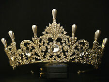 VINTAGE DESIGN PALE GOLD ORNATE PEARL CRYSTAL ROYAL CROWN TIARA - BRIDAL WEDDING