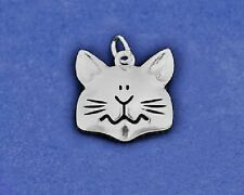 Cat Face Charm Pendant Sterling Silver Pl Kitty Kitten Lover Chunky Rescue Gift