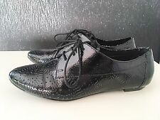 Schuh Designer Ladies Women Black Flat Pump Shoe Court Trainer Size 5 38 Lace Up