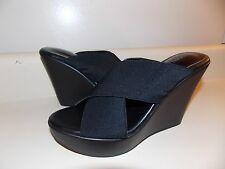 Charles By Charles David Black Slide Platform Wedge Sandal-8M-NEW