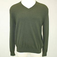 Lands' End 2-Ply 100% Cashmere Sweater V-Neck Grass Green Long Sleeves Large