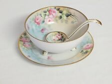 """NIPPON Hand Painted Pink Floral Gold Mayo Condiment Footed 5"""" Bowl Plate & Ladle"""