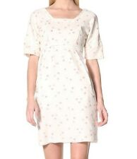Marni Cotton Voile Floral Short Sleeve Shift Dress 42 IT 8 US Cream Ivory $880