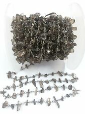3 Feet Smoky Quartz Chips Freeform Rosary Beaded Chain Black Plated Wire 3-5mm