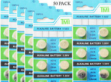50 x AG13 LR44 SR44 L1154 357 A76 Alkaline batteries button cells watch camera