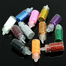 12 Color Glitter Decor Nail Art Powder Dust Bottle Set Manicure Pedicure Tool