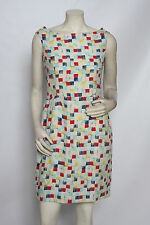 MISCHEN ANTHROPOLOGIE Multi Primary Silk Open Back Cocktail Dress Sz 10 EUC