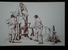 POSTCARD SOCIAL HISTORY RURAL INDUSTRY IN 19TH CENTURY - MEN GRINDING A SCYTHE
