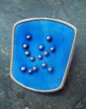 Norwegian Sterling Silver & Blue Enamel Abstract Brooch - Karl Rasmussen Norway