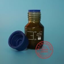 50mL Amber Brown Lab Glass Reagent bottle w cap autoclavable heavy wall M3033 QL
