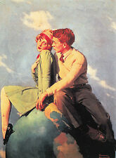 (P033) Postcard - On Top of the World - Norman Rockwell (modern postcard)