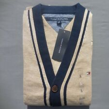 TOMMY HILFIGER MEN SWEATER CARDIGAN Size LARGE new BROWN pockets micro flag