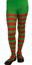 Child Size Red and Green Striped Tights Christmas Elf  Girls Size Large 12-14
