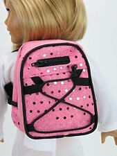 """Pink Sequin School Backpack fits American Girl Dolls or 18"""" Dolls - KNC too!"""