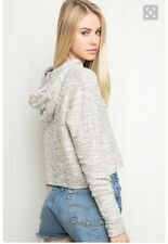Sold Out! brandy melville speckle gray cropped pullover sasha hooddie  NWT OS