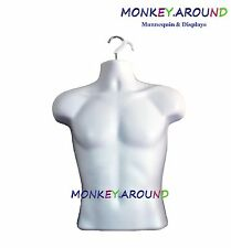 HANGING WHITE MALE MANNEQUIN -MAN CLOTHING DISPLAY,TORSO DRESS BODY FORM +1 HOOK