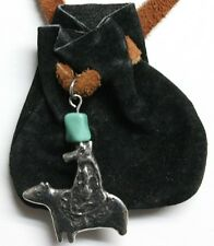 Medicine Bag- spirit riding bear (black with buckskin draw)