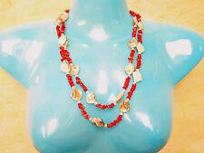 Rote Bambus Koralle mit natur Perlmutt Muschel Nuggets 120 cm EXTRA LANGE KETTE!