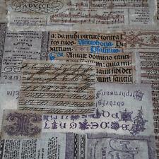 1 Metre Retro Cotton Linen Fabric Vintage Music Script Typography Text 150cm