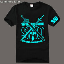 Top Anime Sword Art Online SAO Casual Cotton T-shirt Short Sleeve Tee Luminous
