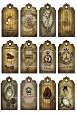 Christmas grunge steampunk scrapbooking tags grunge crafts set of 12