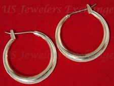 """NEW CLASSIC 14K WHITE GOLD PLATE GP 3/4"""" GRADUATED SIZE HOOP EARRINGS #315"""