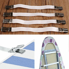 4 Metal Bed Sheet Fasteners Clip Grippers Mattress Strong Elastic Holder New