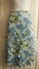TALBOTS BLUE FLORAL COTTON STRAIGTH PENCIL  SKIRT 16W