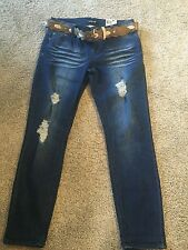 Joe Boxer Junior's Size 11 Skinny Jeans/Capris/Cropped  NWTS with belt