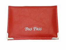 Red leather Bus / Train Pass / ID / Oyster / Travel Card Holder Zip Up Coin