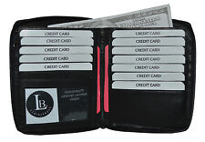 LEATHER WALLET HIPSTER  ALL  AROUND ZIPPER NEW BLACK GIFT IDEA HOLDS 13 CARDS