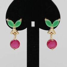 Natural Ruby Emerald 18K Gold Plated Ear Stud Earrings Women Wedding Jewelry