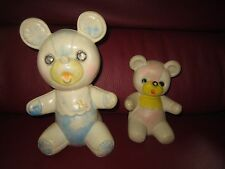 3 - VINTAGE 1960'S? Unmarked Rubber Squeak Teddy Bear Toys